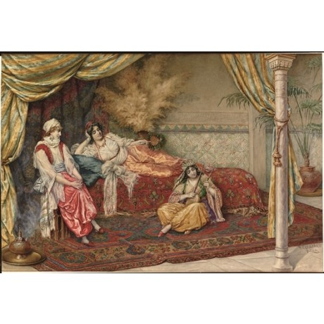 "F. FERRARESI ""A Musical Interlude"" HAREM music harem women reclining NEW CANVAS"