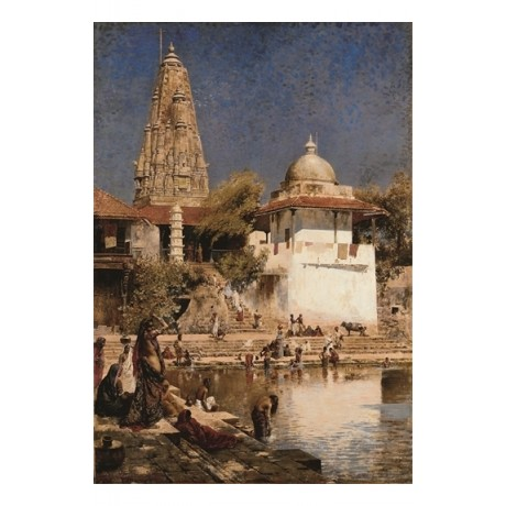 "EDWIN LORD WEEKS ""The Temple of Walkeschwar at Bombay"" ARCHITECTURE new CANVAS"