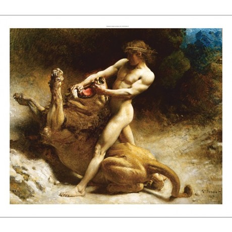 "LEON JOSEPH BONNAT ""Samson's Youth"" SNAPPING jaw lion strength man fight CANVAS"