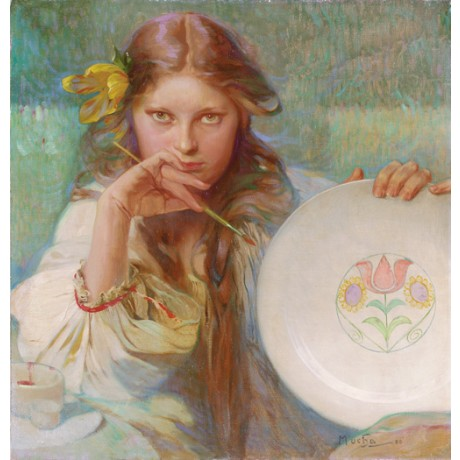 "ALPHONSE MARIE MUCHA ""The Artist"" woman painter plate various SIZES, BRAND NEW"