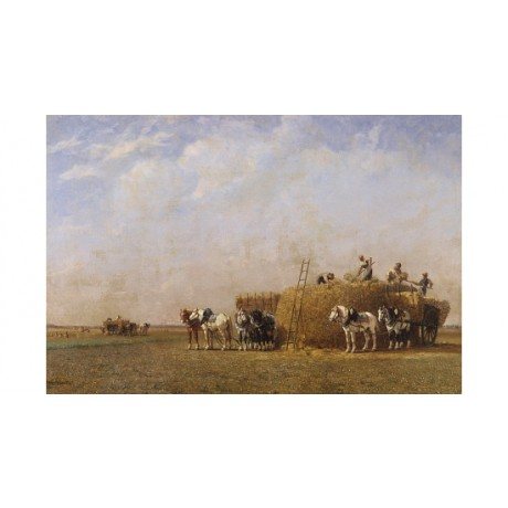 "JULES-JACQUES VEYRASSAT ""Loading The Hay Cart"" CANVAS! various SIZES, BRAND NEW"