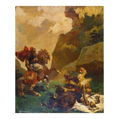 "EUGENE FROMENTIN ""Attacked By A Lion"" BROWSE our shop! various SIZES, BRAND NEW"