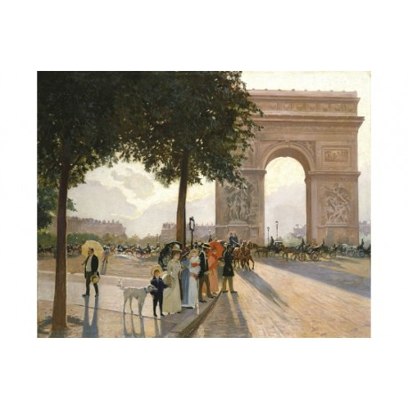 "WILHELM LEFEBRE ""A Promenade By The Arc De Triomphe"" various SIZES available"