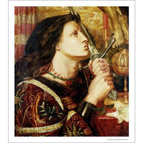 DANTE GABRIEL ROSSETTI Joan Of Arc PRINT ON CANVAS choose SIZE, from 55cm up