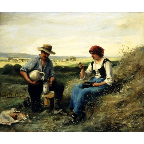 JULIEN DUPRE The Midday Repast eating PICNIC lunch haystack NEW canvas EDITION