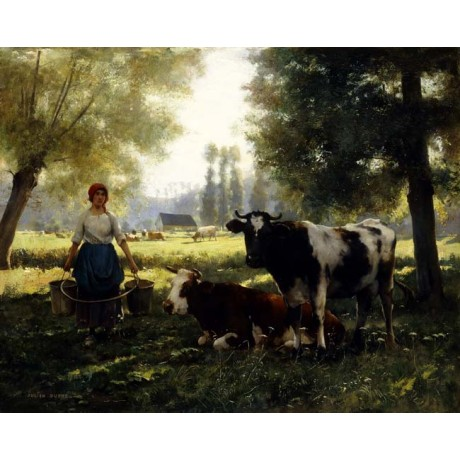 JULIEN DUPRE A Milkmaid with her Cows on a Summer Day countryside CANVAS PRINT