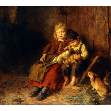 FELIX SCHLESINGER Two Children Playing with Rabbits CUTE boy girl NEW CANVAS!!
