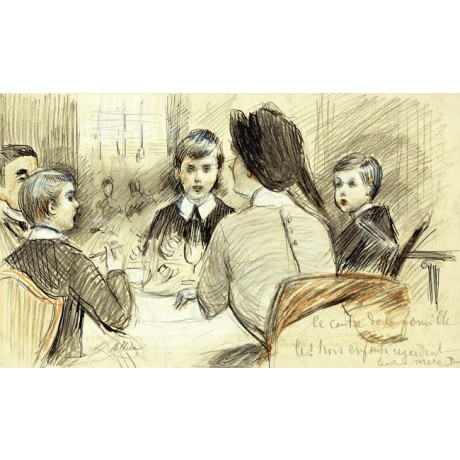"CHARMING CANVAS PRINT ""A Family Dinner at the Ritz, New York"" LOVE sons HELLEU"