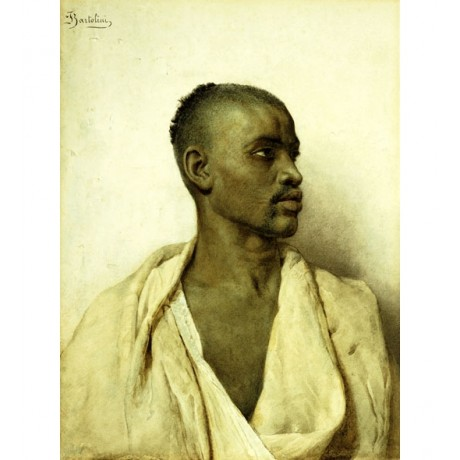 FREDERICO BARTOLINI Portrait of an Arab Man PROUD shaved head young ON CANVAS!