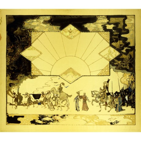"""NEW ART DECO CANVAS PRINT """"The Panel of the Mabinogian No.10"""" GEORGE SHERINGHAM"""