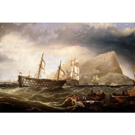 CHARLES HENRY MILLER Shipping off Gibralter ROUGH sea MASSIVE rock NEW CANVAS!