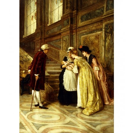GEORGE GOODWIN KILBURNE Admiring the Baby UPPER CLASS family staircase CANVAS!