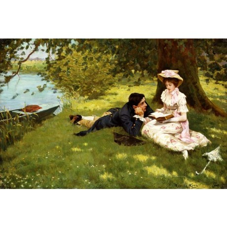 EDWARD R. KING Afternoon Pastimes ROMANCE woman reads man river boat NEW PRINT