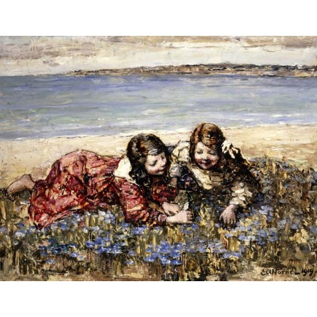 "EDWARD ATKINSON HORNEL ""Gathering Flowers by the Seashore"" SMILING girls NEW!"