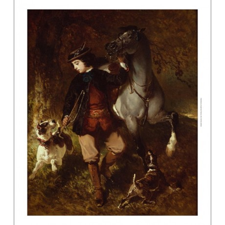 "ALFRED DE DREUX ""Young Horseman"" HUNTING dogs horse whip NEW CANVAS PRINT giclee"
