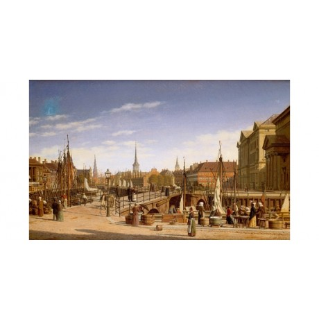 "HEINRICH HANSEN ""Copenhagen"" CITYSCAPE spire bridge masts dock NEW CANVAS PRINT"