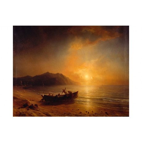 "GUDIN ""Arab Fishermen"" launching boat SUNSET beach gold coastline CANVAS PRINT"