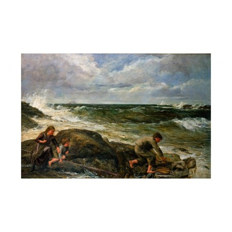 "JAMES HOOK ""Catching A Mermaid"" fishing CHILDREN rocks waves cloud CANVAS PRINT"