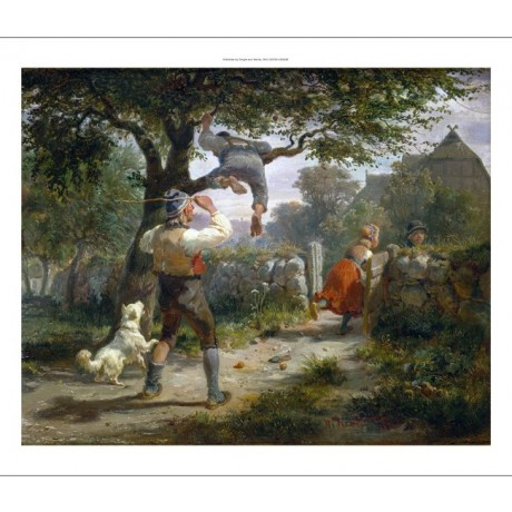 "HERMAN KAUFFMANN ""Caught"" children cane dog APPLE tree girl boy CANVAS PRINT"