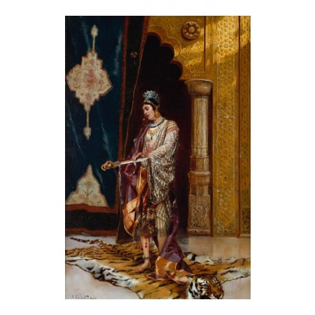 ERNST An Odalisque HAREM tiger skin turkish gold female slave NEW CANVAS PRINT