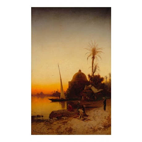 "CORRODI ""Arabs At Prayer By The Nile"" SUNSET pyramid dome sail NEW CANVAS PRINT"