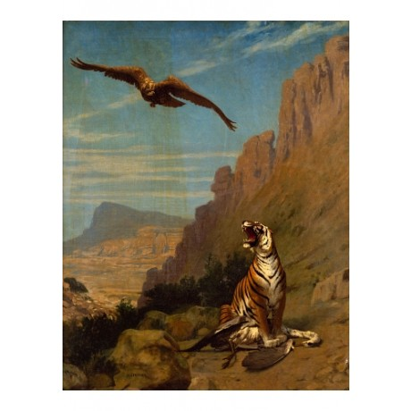 "JEAN-LEON GEROME ""Tiger With Prey"" mountain VULTURE feather teeth CANVAS PRINT"