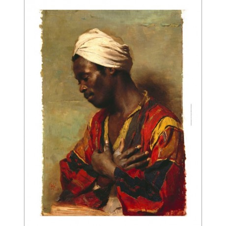 "MESSMANN ""An Arab In Meditation"" HANDS prayer turban red moustache CANVAS PRINT"