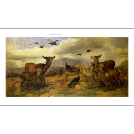 RICHARD ANSDELL The Shepherd's Corn deer grouse DAWN mountain sky CANVAS PRINT