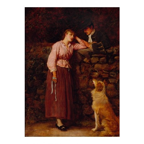 "JOHN EVERETT MILLAIS ""Effie Deans"" COUPLE dog hand wall sleeve NEW CANVAS PRINT"