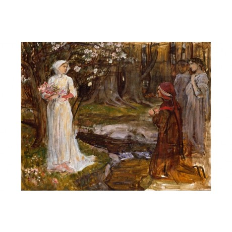 "WATERHOUSE ""Dante And Beatrice"" LOVE flowers river wreath laurel CANVAS PRINT"