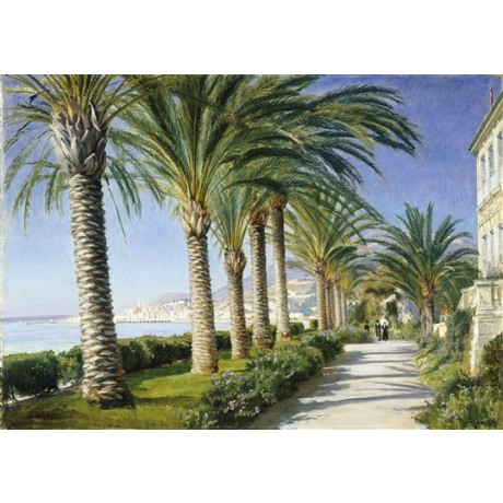 Christian Zacho Monte Carlo france riviera palm trees avenue ocean front giclee