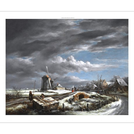 JOHN CONSTABLE A winter landscape with figures FOOTBRIDGE windmills NEW CANVAS