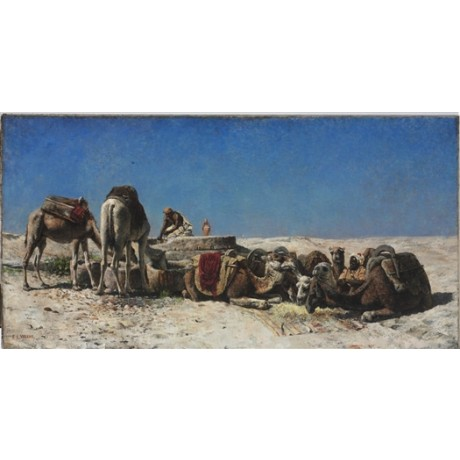 EDWIN LORD WEEKS Camels beside a Cistern DESERT thirst sky caravan blue CANVAS