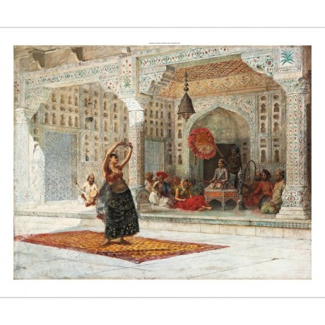 "EDWIN LORD WEEKS ""The Nautch"" INDIA dancer girl palace hookah fan marble CANVAS"