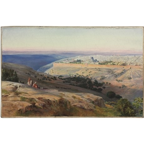 "EDWARD LEAR ""Jerusalem from the Mount of Olives, Sunrise"" HOLY land NEW CANVAS"