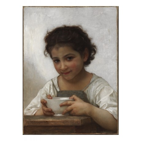 "WILLIAM ADOLPHE BOUGUEREAU ""La Soupe au lait"" COY girl bowl milk comfort CANVAS"
