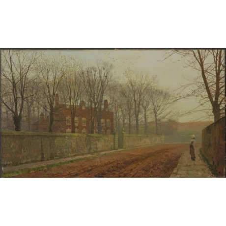 "JOHN ATKINSON GRIMSHAW ""The Rookery"" BYSTANDER road wall house CANVAS PRINT"