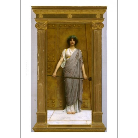 "JOHN WILLIAM GODWARD ""At the Gate of the Temple"" MYTHOLOGY wreath NEW CANVAS"