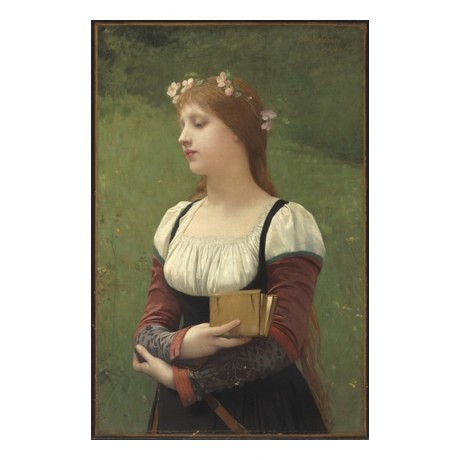 JULES JOSEPH LEFEBVRE A pensive moment WISTFUL thoughtful book hair NEW CANVAS