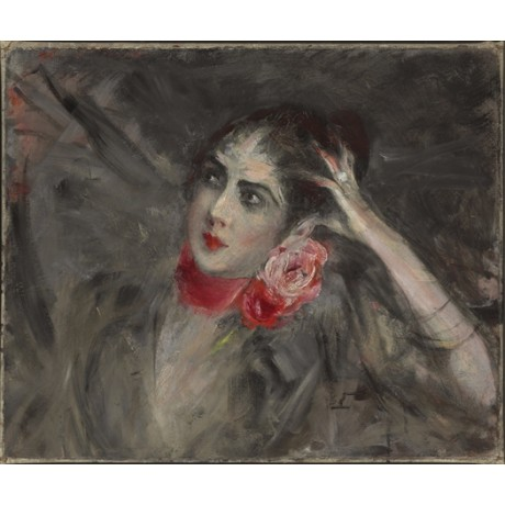 "GIOVANNI BOLDINI ""Princess Radziwill with red ribbon"" neck CHOKER rose CANVAS"