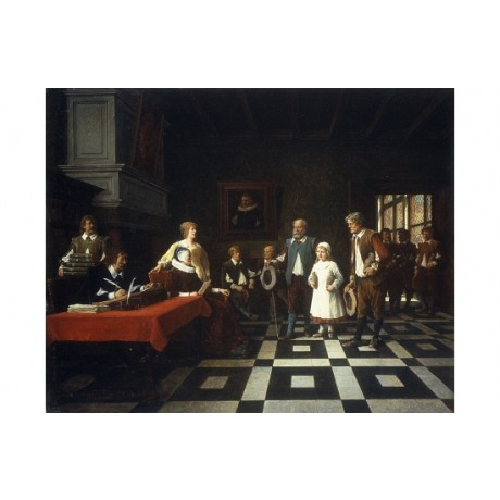 "FICHEL ""At The Tax Collector"" PANEL desk tiled floor child group CANVAS PRINT"