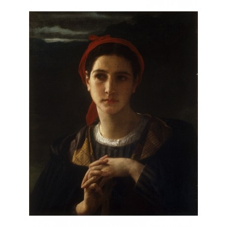 "BOUGUEREAU ""Bergere Bordelais"" SHEPHERDESS suspicion hands clasped night CANVAS"