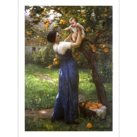 DEMONT-BRETON Mother Child Orange Grove LOVE harvest orchard basket tree PRINT