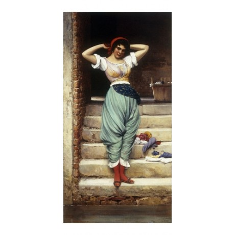 BLAAS Washerwoman RAISED arms chores laundry blue skirt red scarf steps CANVAS