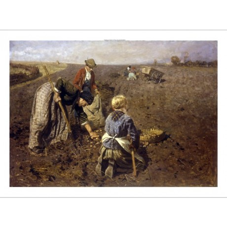 "HERMAN HARTWICH ""Potato Harvest"" TEAMWORK agriculture crop fork cart NEW CANVAS"