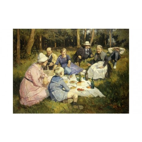"JENSEN ""Family Picnic"" TOGETHERNESS woodland relaxing generations CANVAS PRINT"