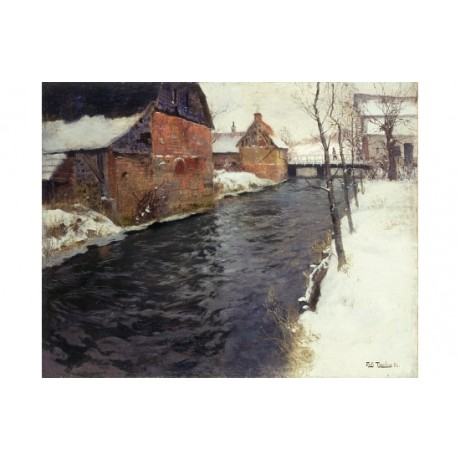 "FRITS THAULOW ""Winter River"" SNOWFALL ice village walking footbridge NEW CANVAS"