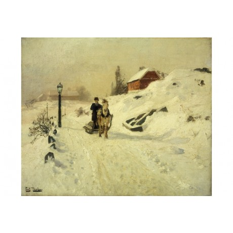 "FRITS THAULOW ""Horse-Drawn Sleigh Winter"" CHRISTMAS lamp-post road CANVAS PRINT"