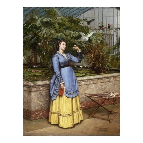 "LEYDENDECKER ""In The Aviary"" GLASSHOUSE lilypad bird pond blue paris NEW CANVAS"