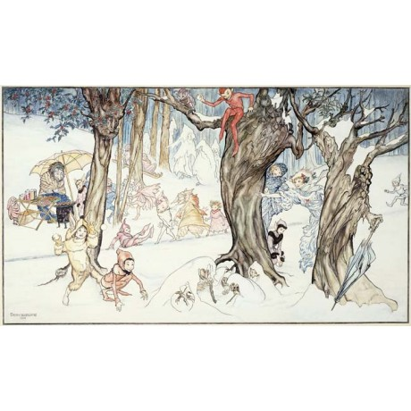 "CAPTIVATING CANVAS PRINT ""Winter Frolic"" fantasy characters snow ARTHUR RACKHAM"